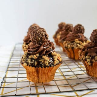 Ferrero Rocher Cupcakes with Nutella Ganache recipe