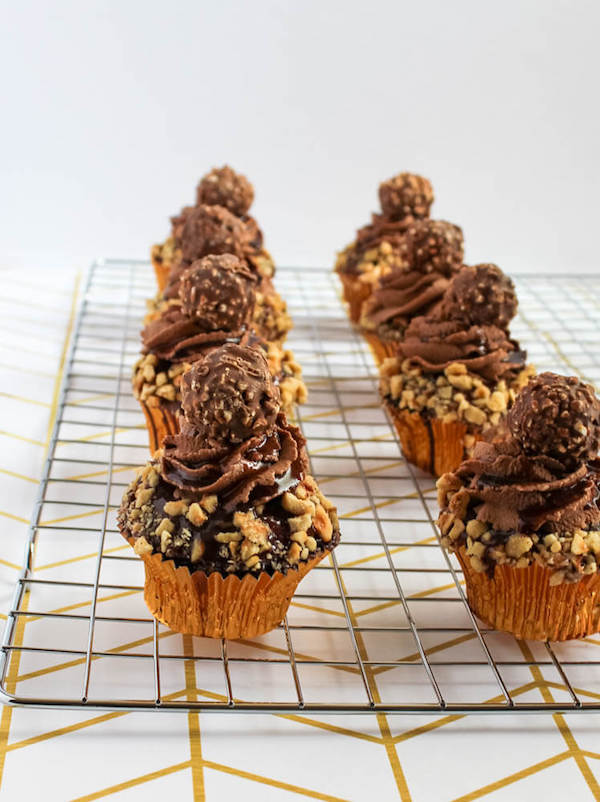 Ferrero Rocher Cupcakes with Nutella Ganache and Nutella Buttercream