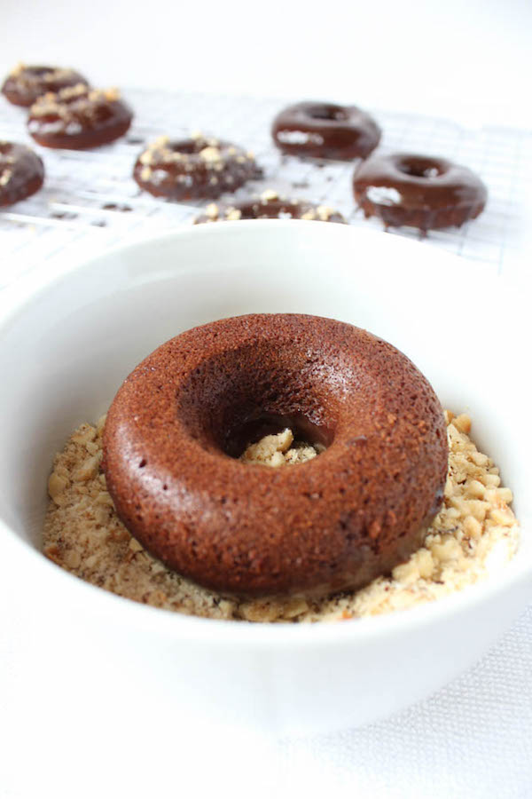 Nutella Donuts dipped in chopped hazelnuts!