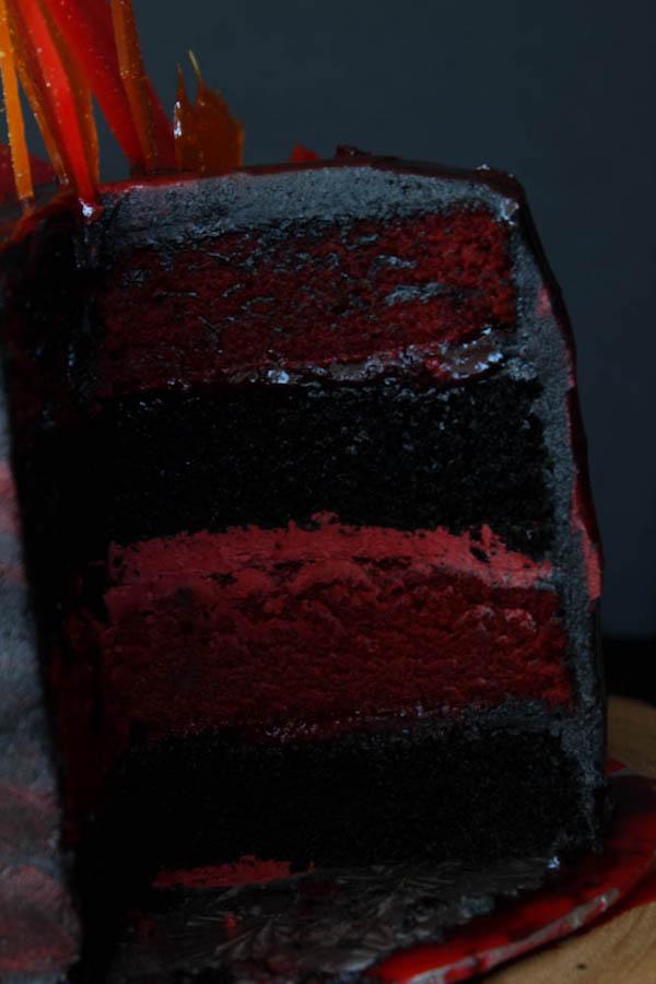 Red Velvet and Dark Chocolate Layer Cake recipe