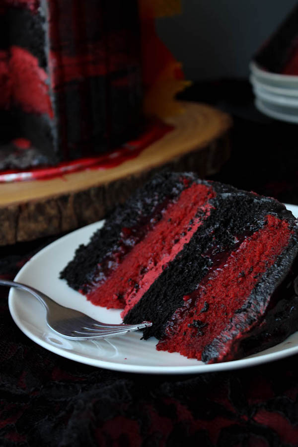 Red and Black Layer Cake with raspberry-strawberry filling