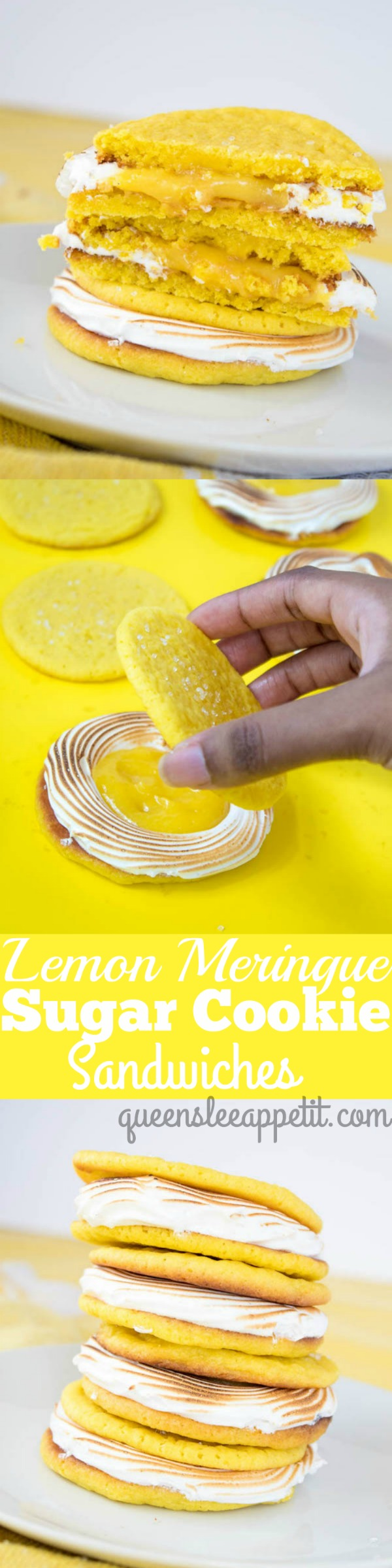 Soft and chewy lemon sugar cookies, filled with fluffy meringue and sweet lemon curd