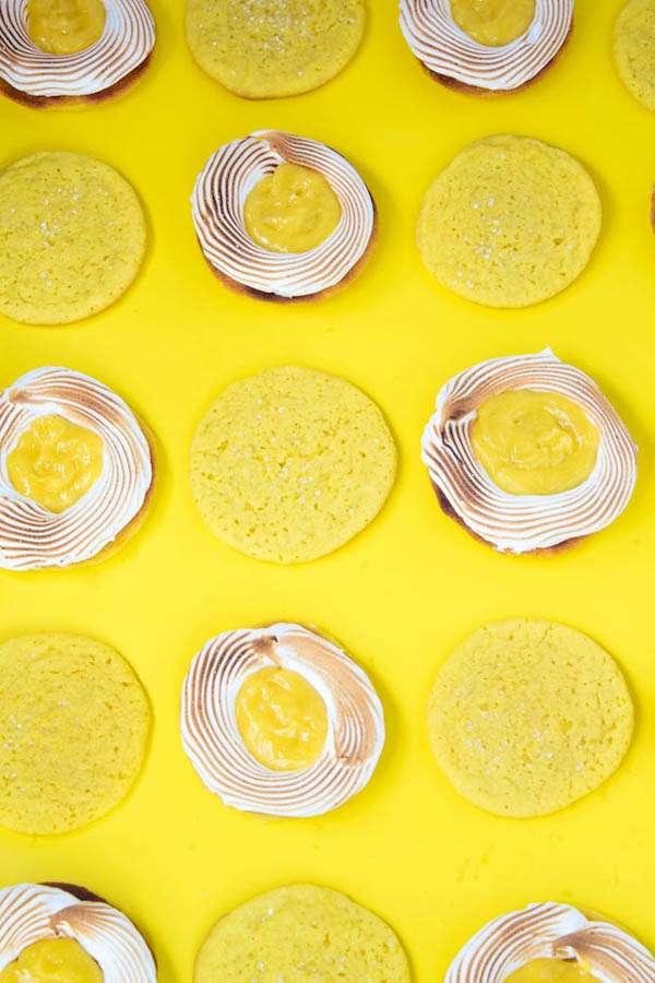 Lemon Sugar Cookies filled with fluffy meringue and creamy lemon curd!