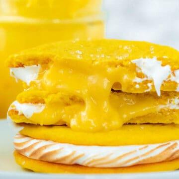 lemon sugar cookies filled with meringue and lemon curd
