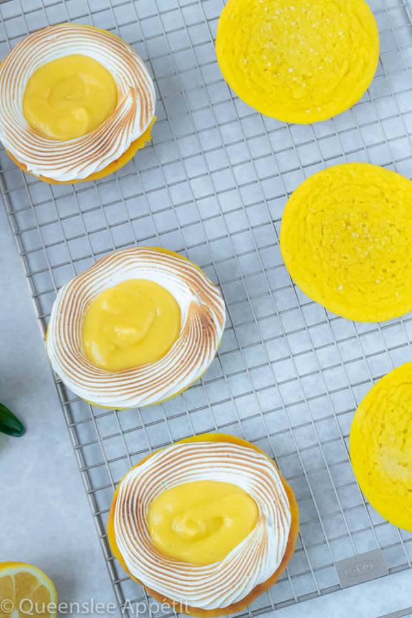 lemon sugar cookies filled with meringue and lemon curd