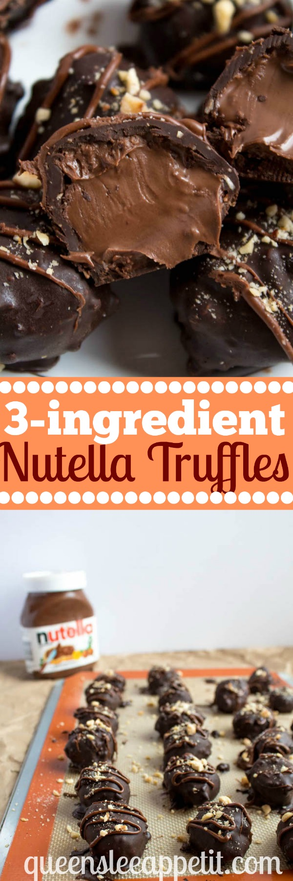 Delectable chocolate hazelnut truffles with an irresistibly smooth Nutella center. These melt-in-your-mouth Nutella Truffles are an upgrade from eating spoonfuls of Nutella straight from the jar!