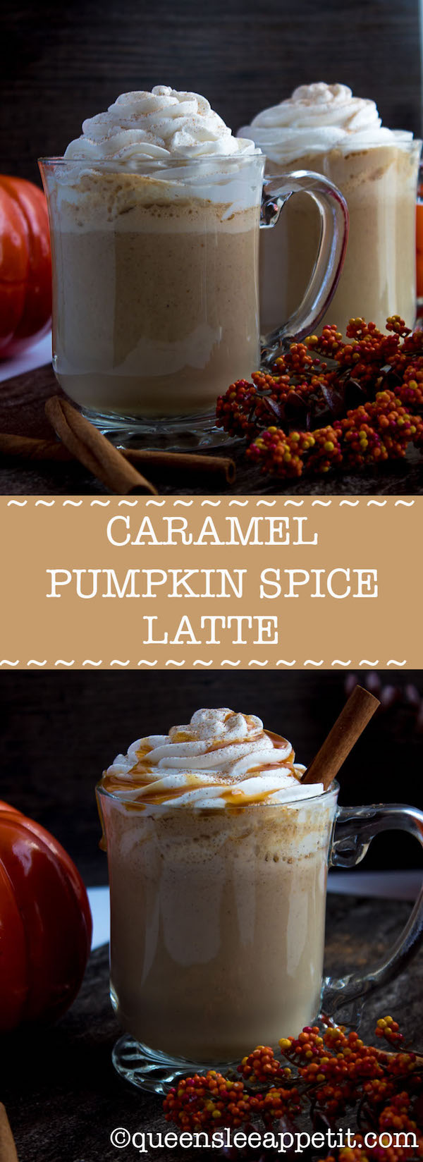 This Caramel Pumpkin Spice Latte is rich, creamy and loaded with pumpkin flavour. Whole milk flavoured with pumpkin purée, spices and caramel, then blended with freshly brewed espresso. This is the perfect drink for the fall season.