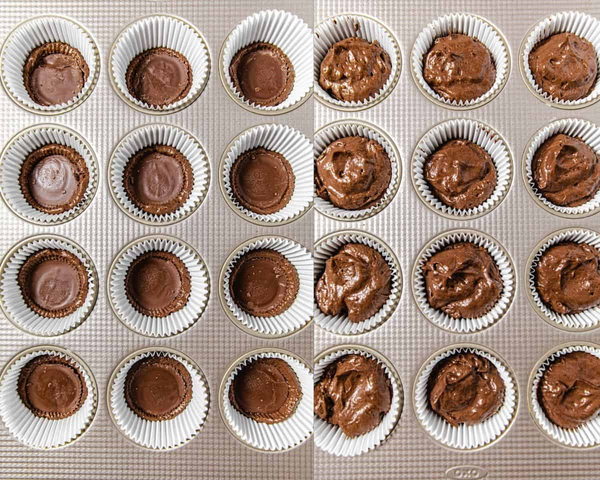 two photo collage showing Reese's cups in cupcake liners and chocolate cupcake batter in the liners on the right