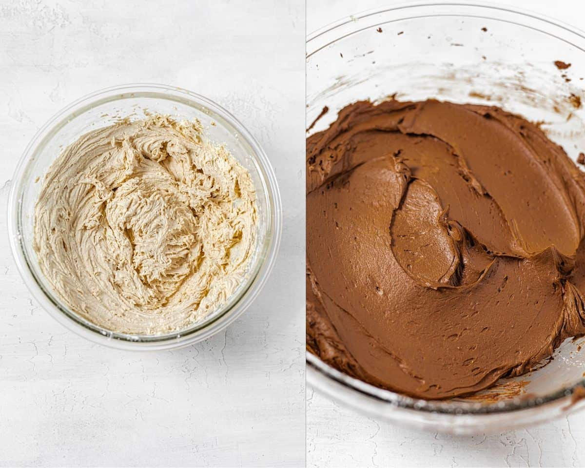 two photo collage of a glass bowl of peanut butter frosting on the left and chocolate frosting on the right