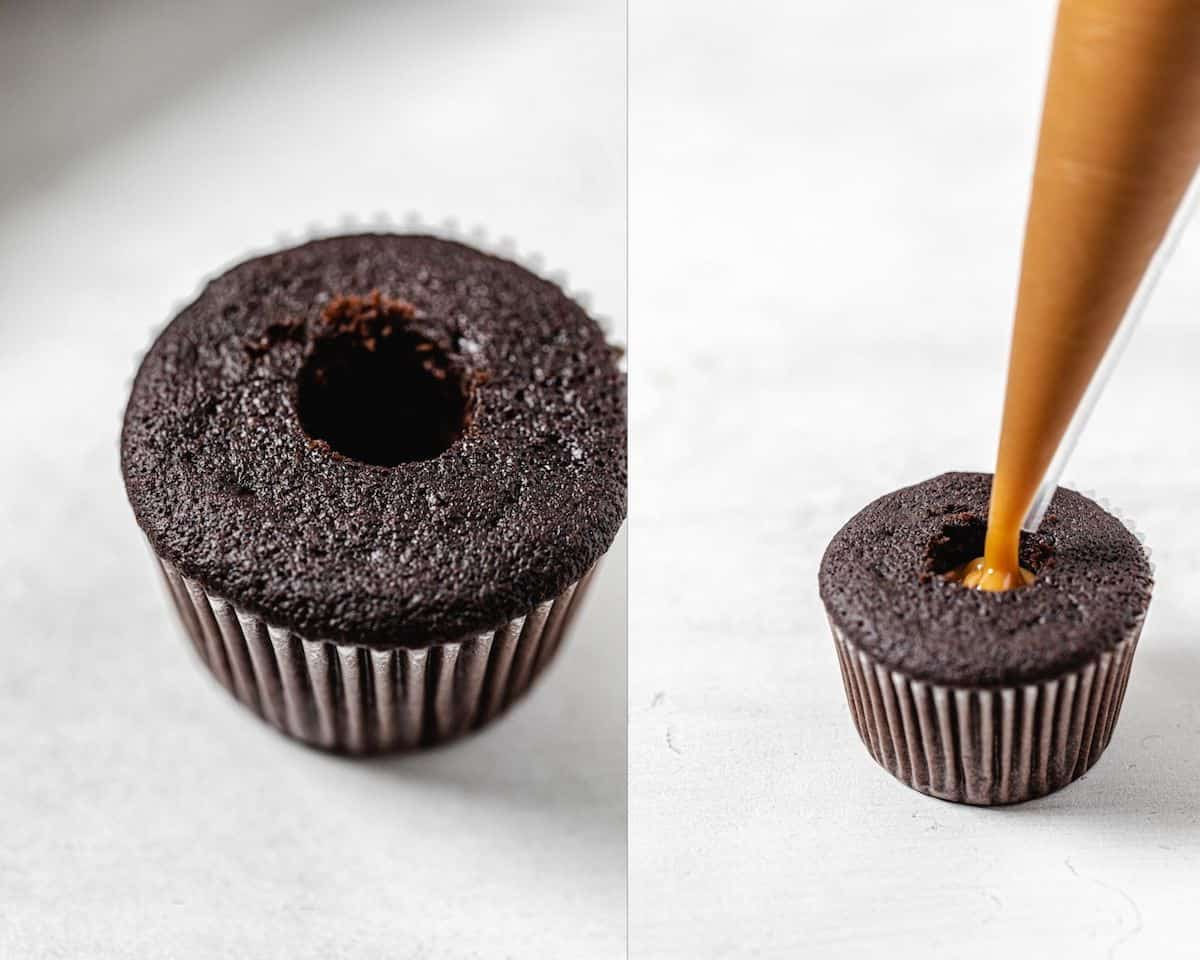 two photo collage of cored cupcake on the left and disposable piping bag piping ganache into the cupcake on the right