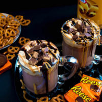 Peanut Butter Hot Chocolate with Peanut Butter Whipped Cream