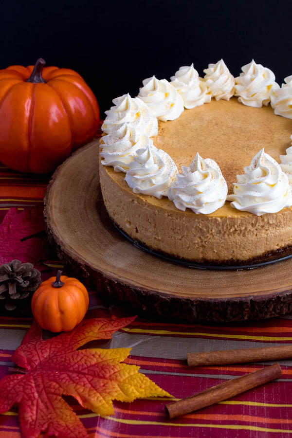 Rich and creamy pumpkin cheesecake paired with a spiced gingersnap crust! This is the perfect dessert to enjoy after your Thanksgiving dinner.