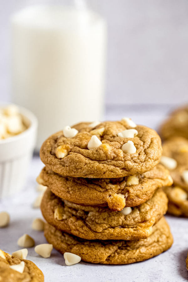 stack of white chocolate chip pumpkin cookies