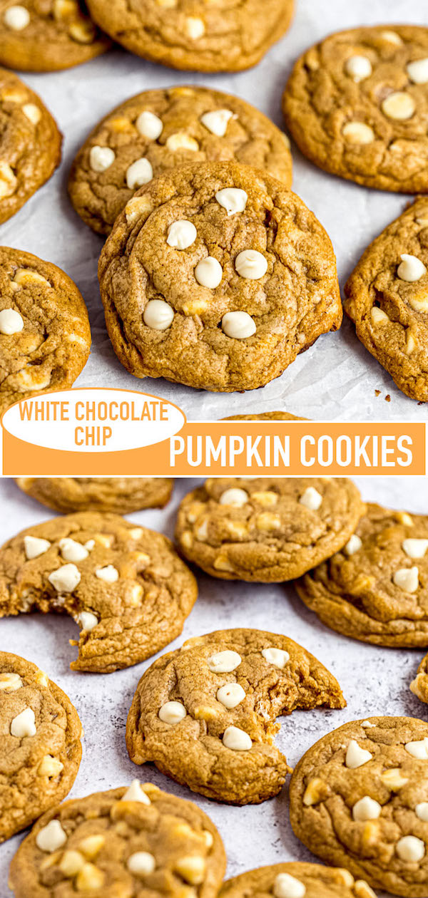 white chocolate chip pumpkin cookies pin image