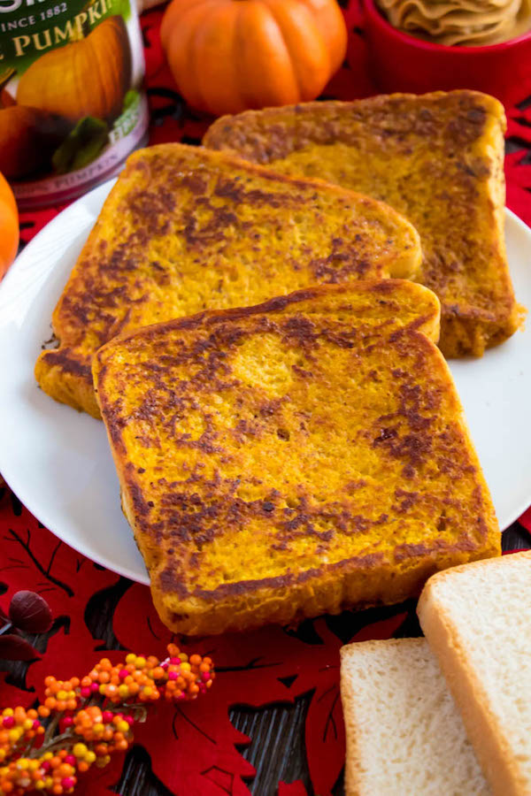 Enjoy thick slices of Pumpkin French Toast perfect for fall mornings. Serve with a dust of powdered sugar, a drizzle of pure maple syrup and a dollop of Whipped Pumpkin Spice Honey Butter!