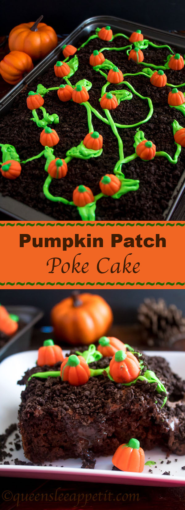 This Pumpkin Patch Poke Cake is super fun, easy and festive! This cute dessert would be a great treat to serve after Thanksgiving dinner!