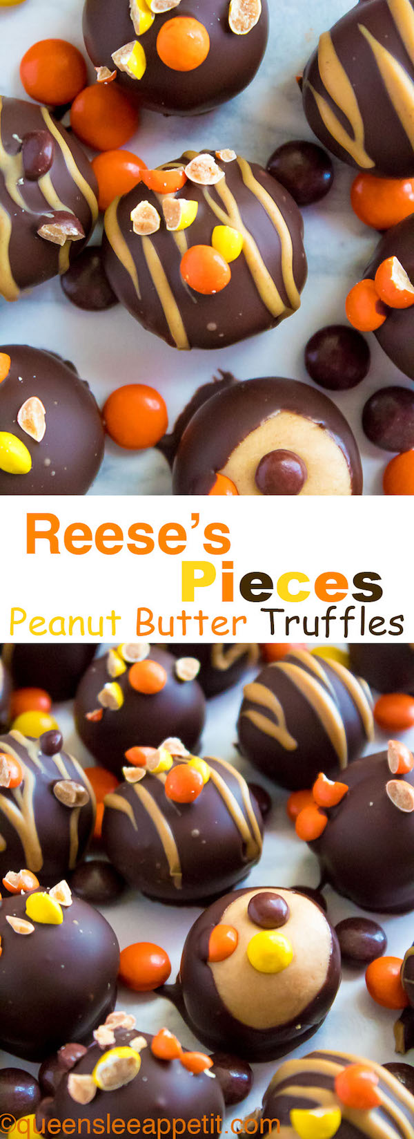 Reese's Pieces Peanut Butter Truffles— smooth and creamy peanut butter balls, loaded with mini Reese's Pieces, coated with dark chocolate and drizzled with melted peanut butter!