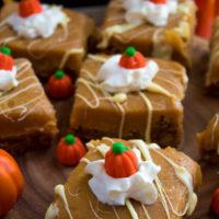 White Chocolate Pumpkin Spice Fudge Blondies