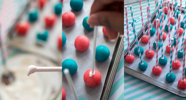 These Gender Reveal Cake Pops are a fun and cute way to surprise your baby shower guests! Once they bite into it, the pink or blue cake inside will reveal if it's a boy or girl!
