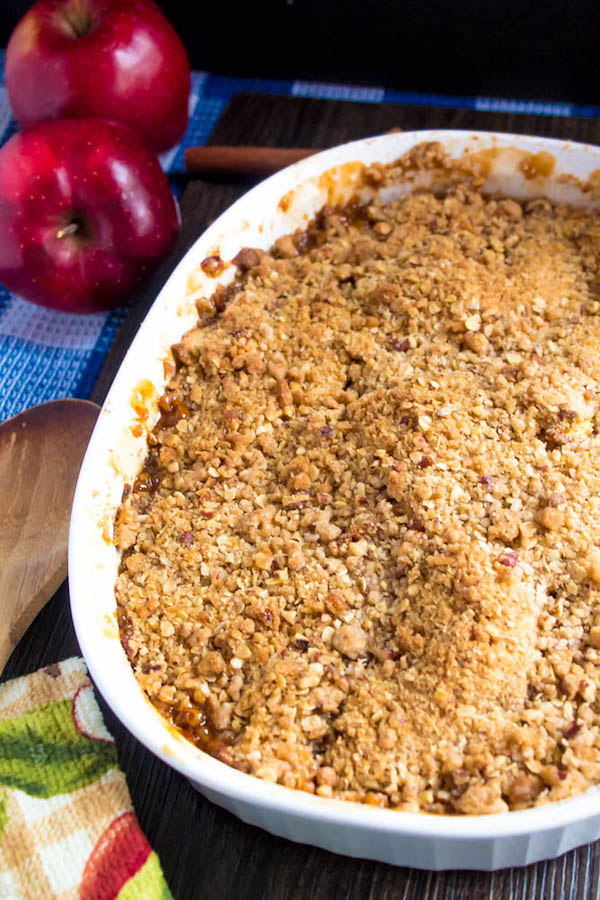 Salted Caramel Apple Crisp – Fresh apples, tossed with sugar and spices, blanketed under a layer of salted caramel sauce and topped with a crispy oatmeal-pecan crumble! This salty and sweet treat is the perfect dessert for Fall and Thanksgiving!