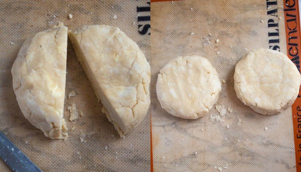 dividing and flattening pie dough