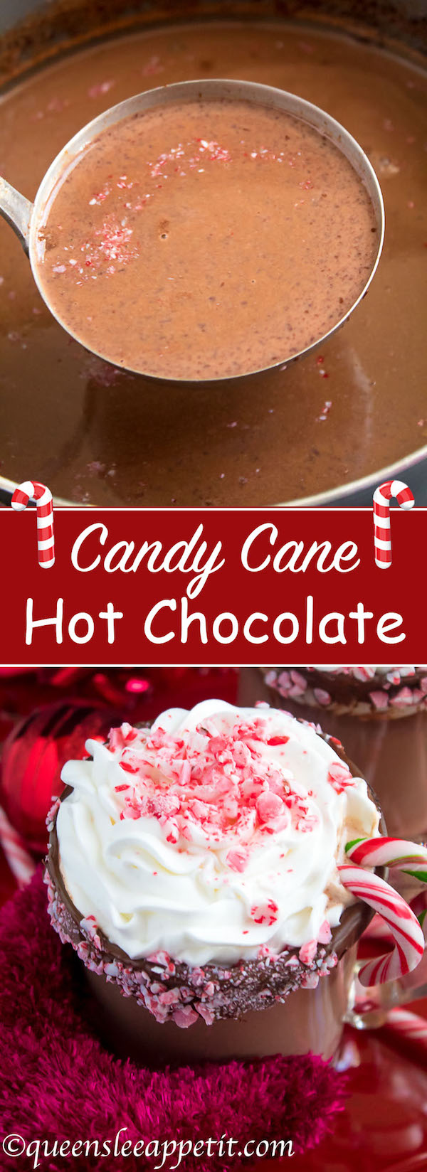 This Candy Cane Hot Chocolate is a warm and cozy Holiday drink perfect for warming up to the cold weather. With a candy cane lined rim, peppermint hot chocolate filled with crushed candy canes, and a peppermint whipped cream topping, this drink screams Christmas!