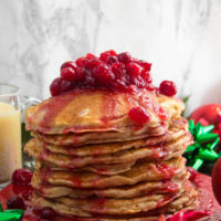 Eggnog Pancakes with Cranberry Syrup