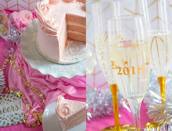 This Pink Champagne Cake is the perfect way to celebrate New Years Eve. Layers of Champagne infused cake, filled with a Champagne infused Buttercream and frosted with a light and fluffy vanilla buttercream — there's no better way to start the new year!