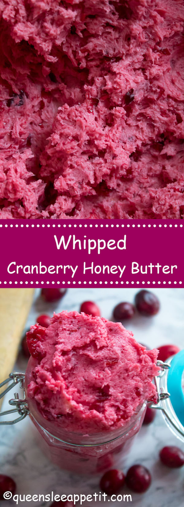 This Whipped Cranberry Honey Butter is sweet, tart, fruity and simple to make. It's perfect on toast, raisin bread, scones, dinner rolls, bagels and so much more!