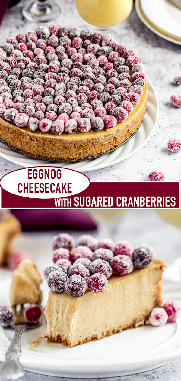 eggnog cheesecake long pin image