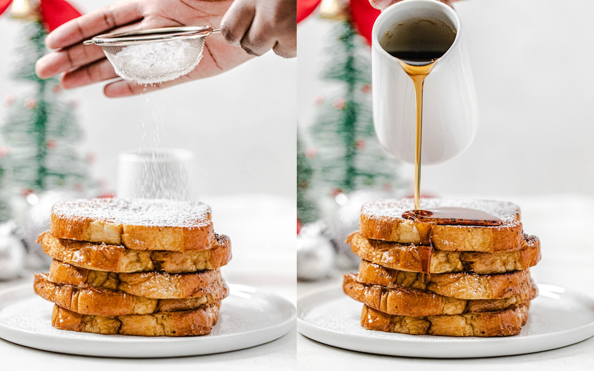 dusting powdered sugar and pouring maple syrup onto stack of French toast