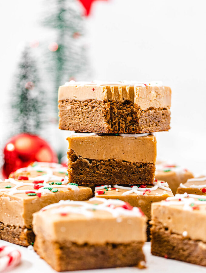 fudge blondies stacked on top of each other