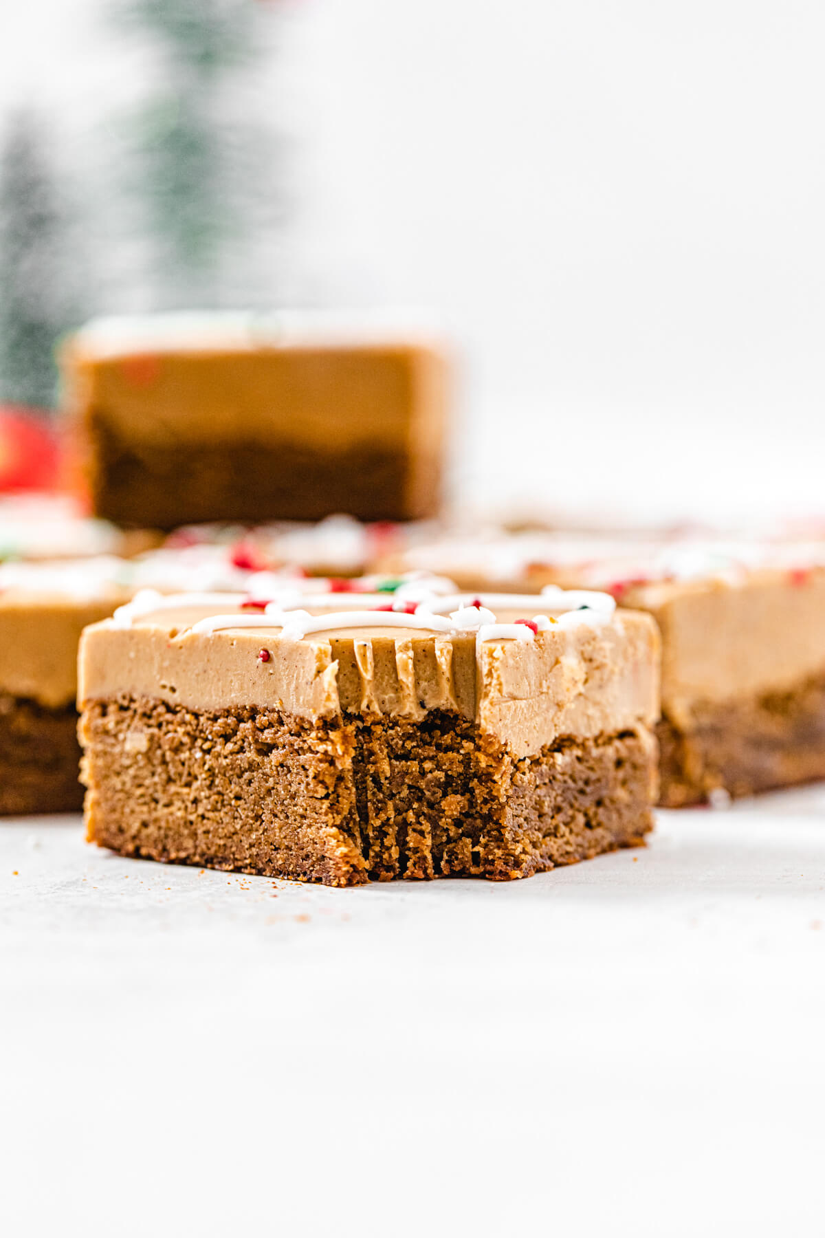 fudge topped blondie with a bite taken out of it