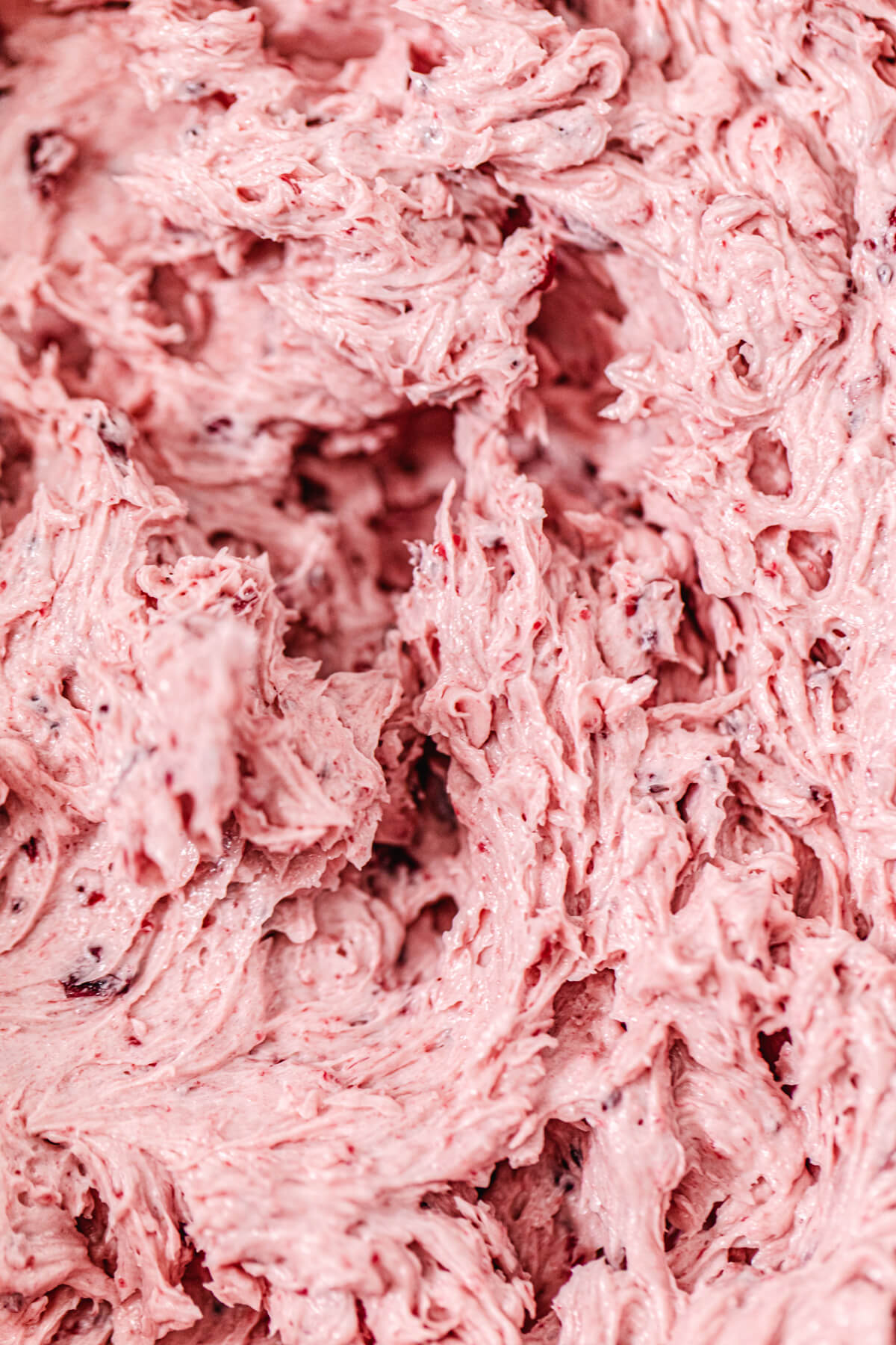 close up of whipped cranberry butter