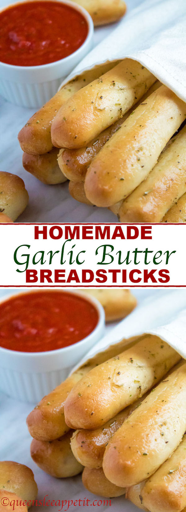 These Homemade Garlic Butter Breadsticks are incredibly soft, fluffy and buttery. They're so simple to make and are a great addition to all your meals!