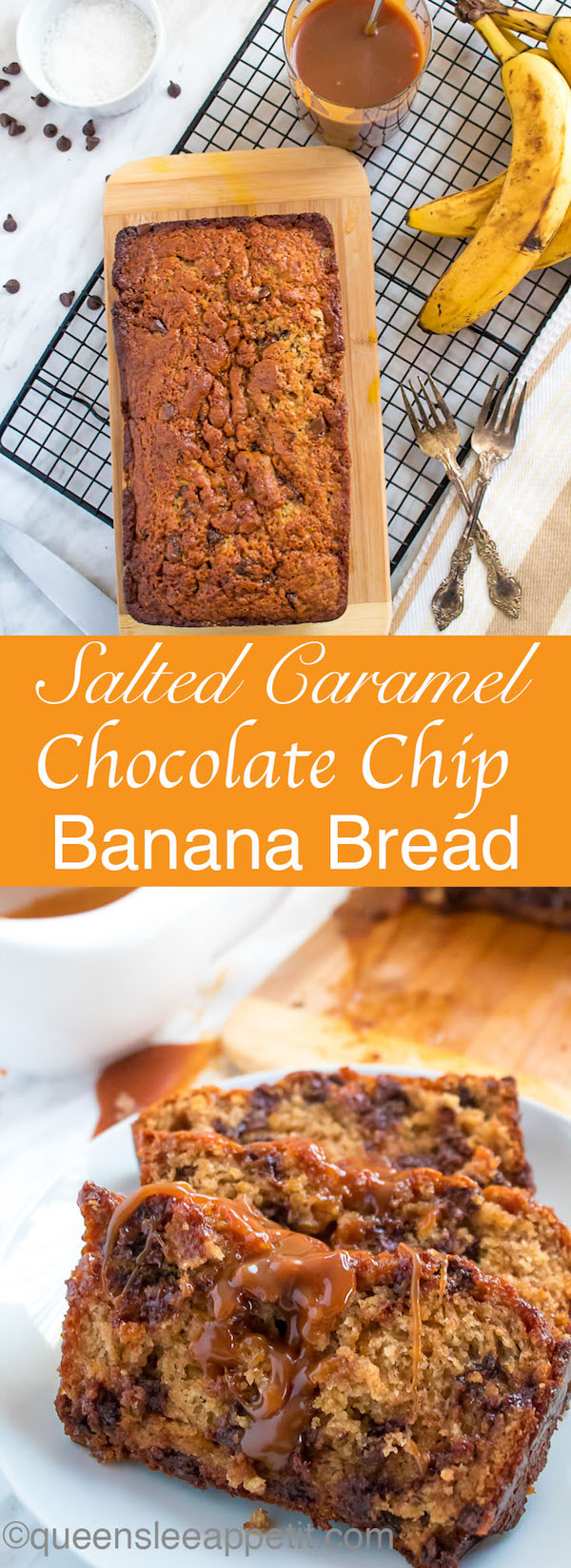 This Salted Caramel Chocolate Chip Banana Bread is soft, moist and fluffy. Packed with chocolate chips and swirled with salted caramel sauce, this banana bread will surely be your new favourite!