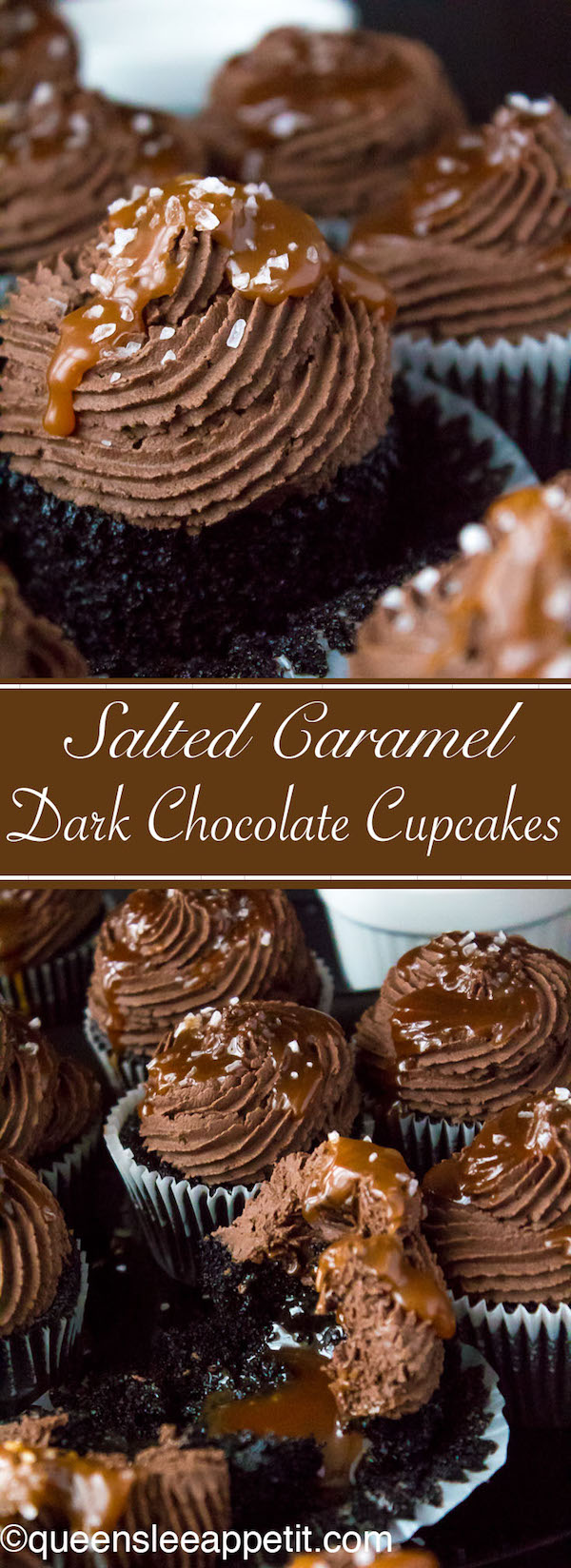 These Salted Caramel Dark Chocolate Cupcakes are made with a moist Dark Chocolate Cake, filled with Salted Caramel Sauce, topped with a rich and decadent Dark Chocolate Buttercream and a sprinkle of sea salt. They're simply irresistible!