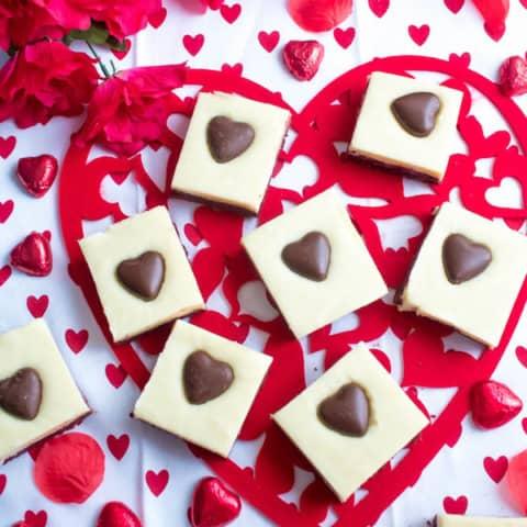 White Chocolate Fudge Red Velvet Brownies