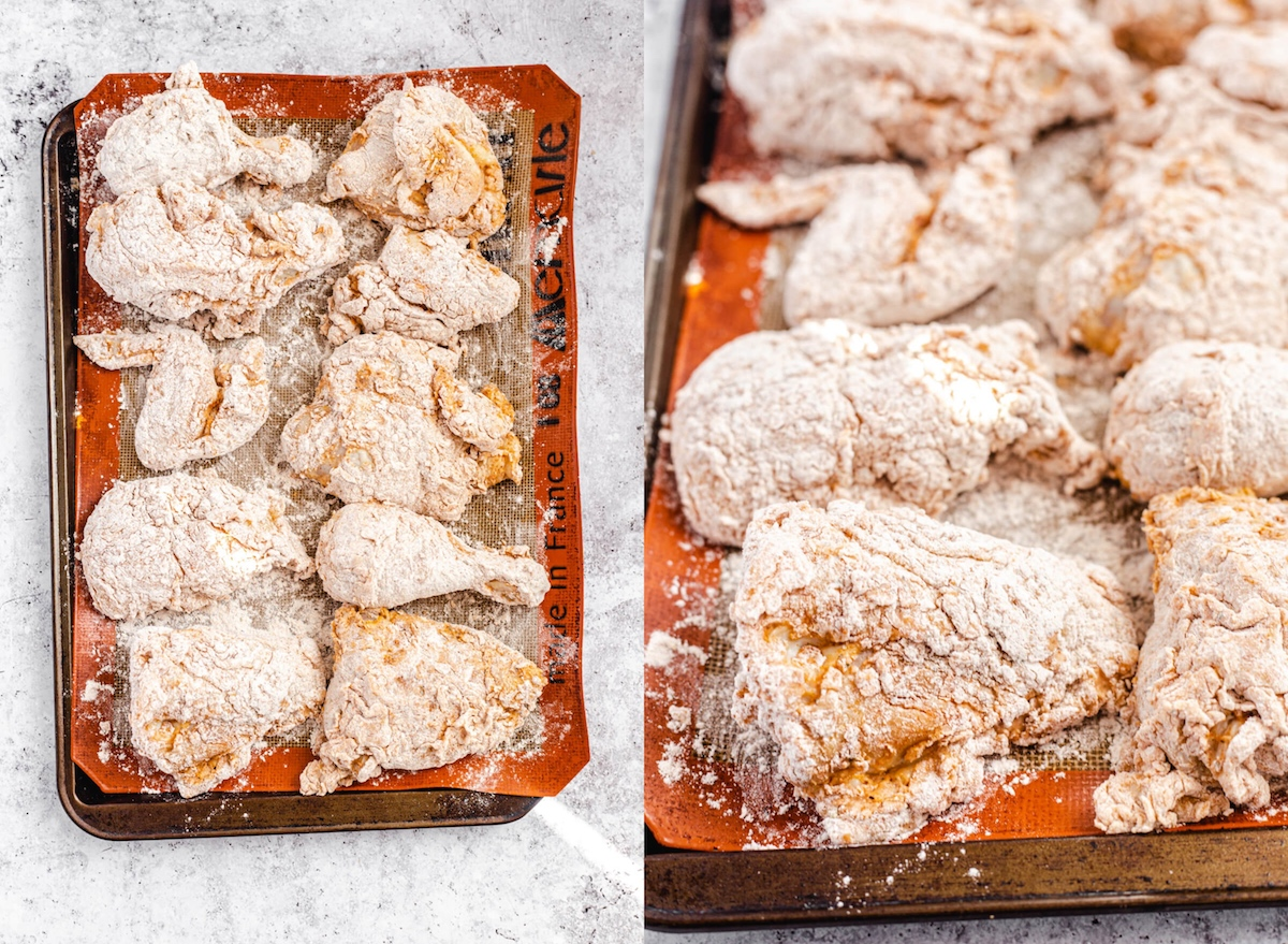 two photos of chicken dipped in flour coating