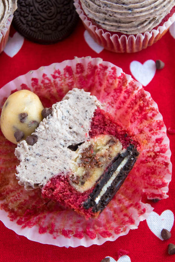 Oreo Cookie Dough Stuffed Red Velvet Cupcakes Recipe