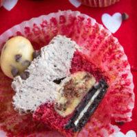 Oreo Cookie Dough stuffed Red Velvet Cupcakes