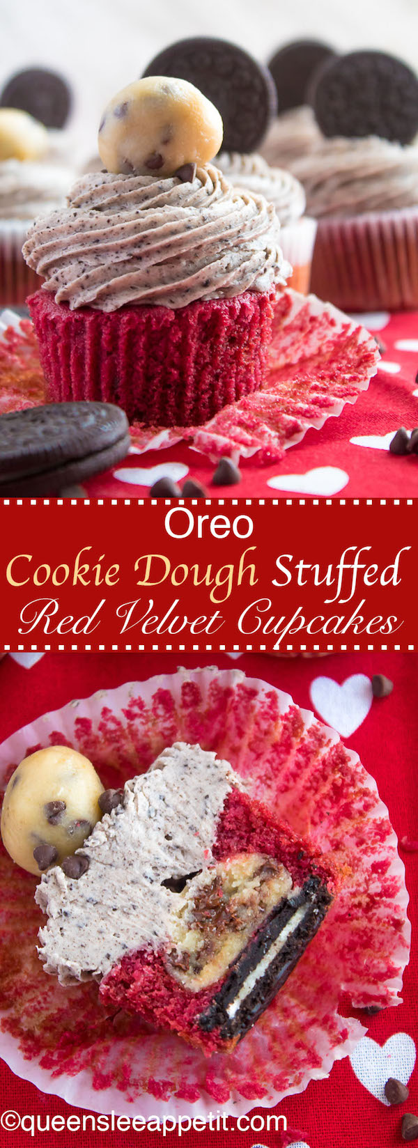 These Oreo Cookie Dough Stuffed Red Velvet Cupcakes are insanely delicious! A moist and fluffy red velvet cupcake with an Oreo bottom and cookie dough filling. Topped with an Oreo Cream Cheese Frosting, these cupcakes are dressed to impress!