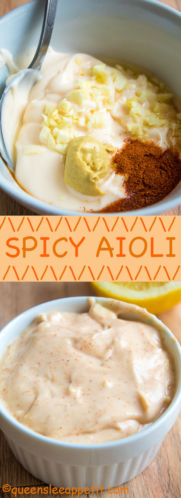 This Spicy Aioli is super quick and easy to make! This creamy and spicy sauce is the perfect spread for sandwiches and hamburgers, and it makes a great dip for fries and onion rings!