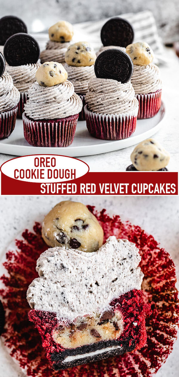 cookie dough red velvet cupcakes long pin image for Pinterest