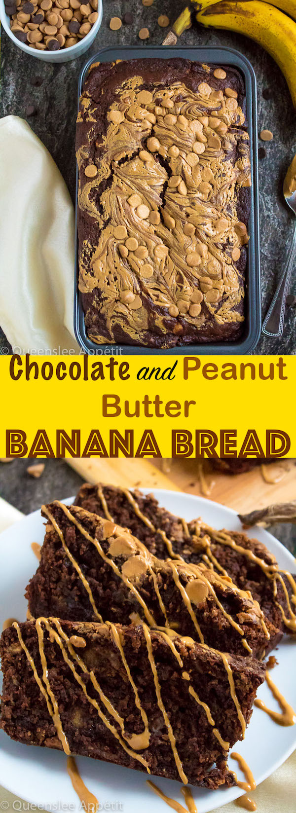 This Chocolate and Peanut Butter Banana Bread takes the worlds best flavour combination and turns it into one amazing loaf of banana bread!