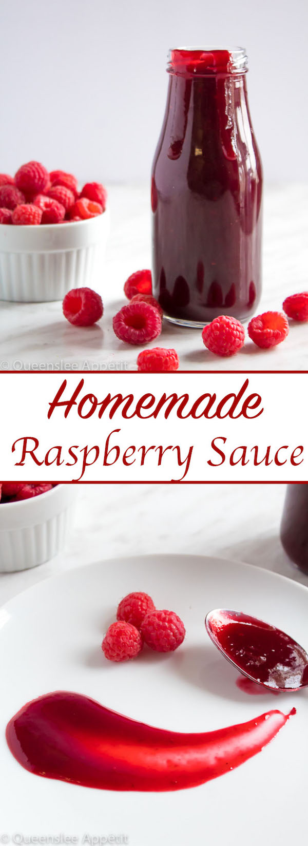 This Homemade Raspberry Sauce is perfect for filling cakes and topping waffles, pancakes, scones, cheesecake and so much more!