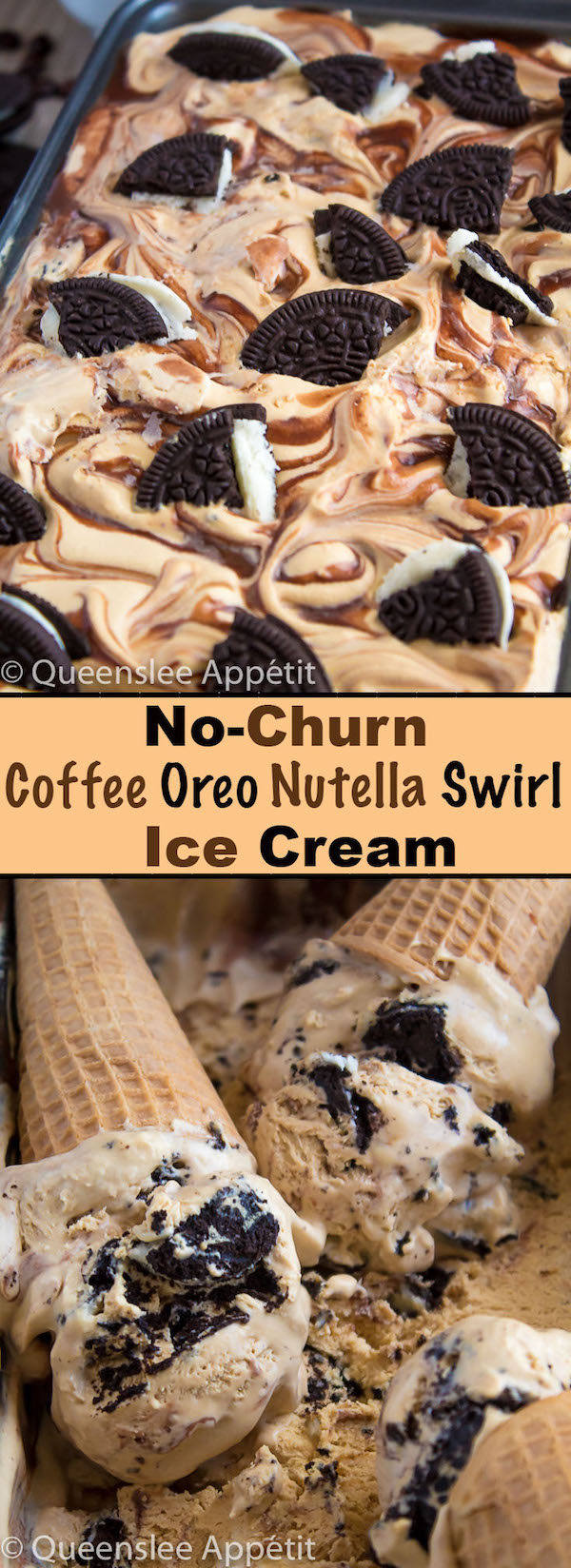 Packed with Oreos, swirled with Nutella ganache and full of rich and bold coffee flavour. This creamy Coffee Oreo Nutella Swirl Ice Cream is super easy to make and doesn't require any eggs, cooking, or an ice cream maker!