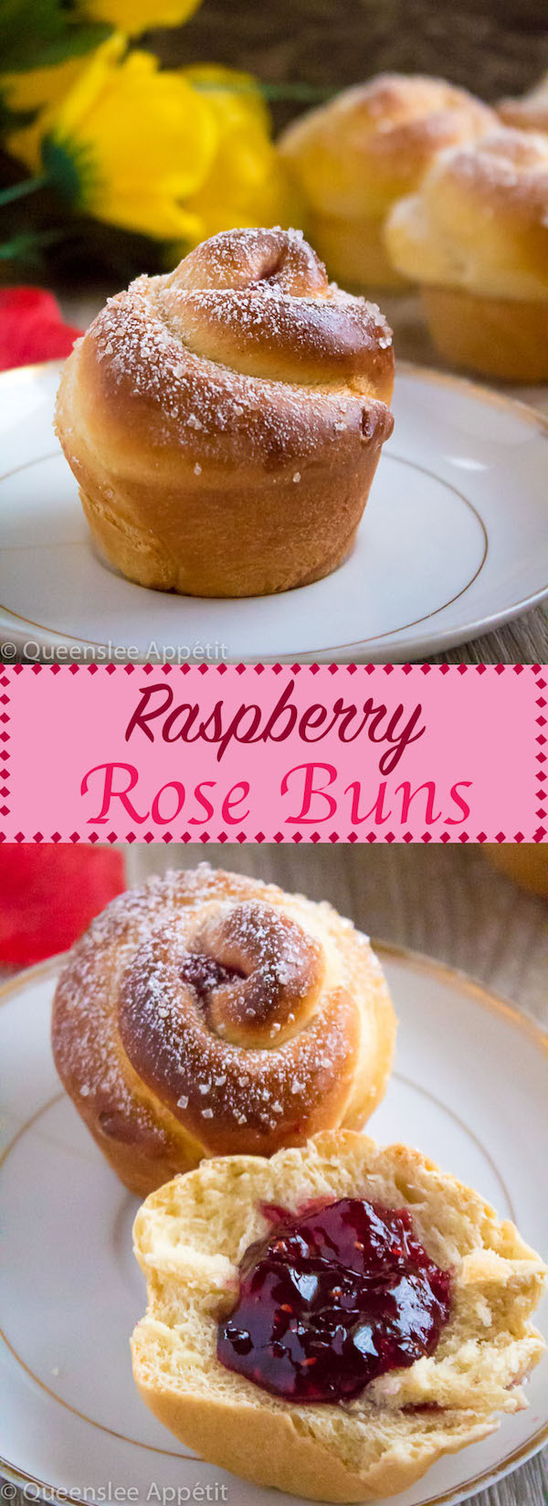Wake up and smell the rose buns! Soft and fluffy rose-shaped buns filled with sweet raspberry jam. These Raspberry Rose Buns are an easy and gorgeous gift for Mothers Day!