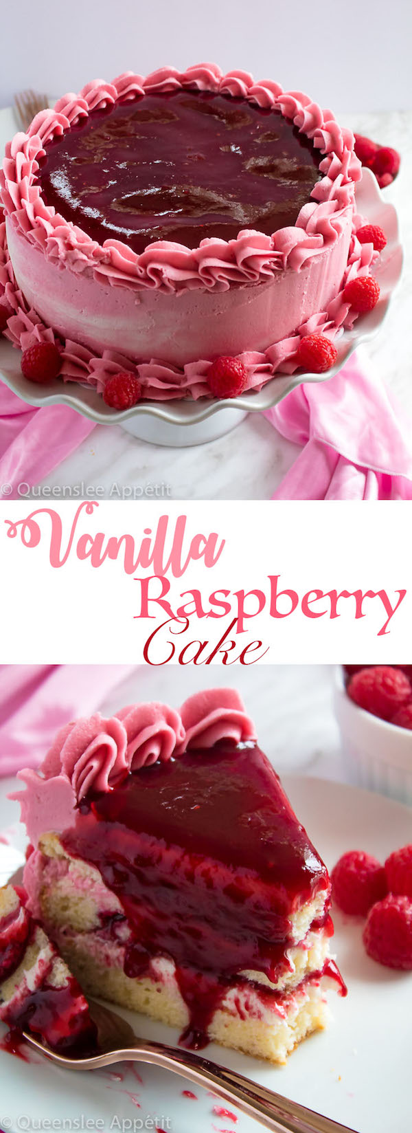 This Vanilla Raspberry Cake has moist and fluffy layers of vanilla cake. Between those layers is a vanilla buttercream with a raspberry sauce. Decorated with a raspberry and vanilla buttercream watercolour design, raspberry buttercream border, garnished with fresh raspberries and more raspberry sauce in the middle.