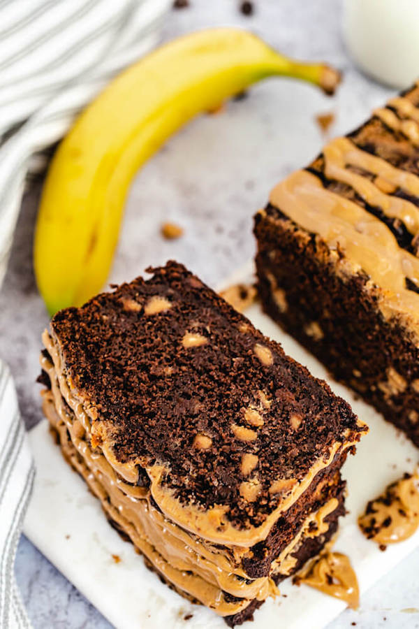 stack of chocolate and peanut butter flavoured banana bread slices